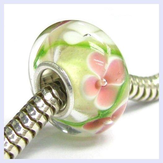 STR Silver Green Pink White Flower Glass Murano Bead for European Charm Bracelet