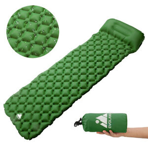 Self-Inflating-Mat-Outdoor-Sleeping-Pad-Hiking-Pillow-Air-Mattress-Camping-Green