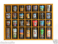 28 Shot Glass Display Case  Rack Wall Shelves Shadow Box, Solid Wood, SC11-OA