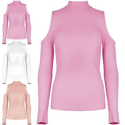 Neueste Kollektion Von Womens Ladies Polo High Turtle Neck Ribbed Cold Cut Out Shoulder Tee T Shirt Top Harmonische Farben