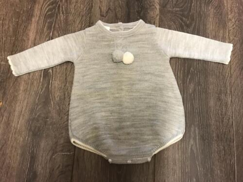 baby babies babys ROMPER boys knitted grey Spanish style romper OUTFIT BOBBLES