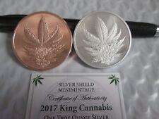 2017  King Cannabis silver shield  Silver/Copper Mini Mintage bu W/ COA  4197