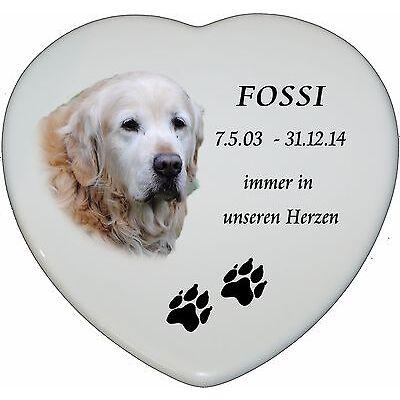 Grabbild Grabstein Tiergrabbild Porzellan Herz Hund-p12►mit Ihrem Foto◄15x13 cm