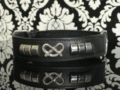 Cuello para perro banda de cuero 38-46cm acolchada pretzel collar tachuelas Collar de cuero a26