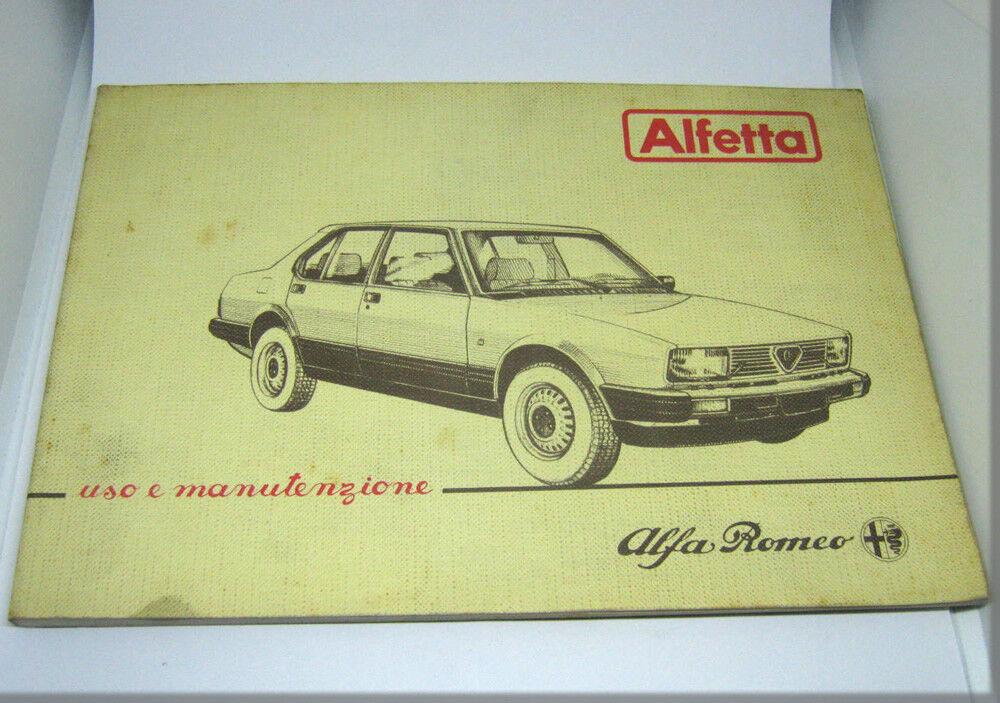 Alfa Romeo Alfetta Berlina Libretto Uso E Manutenzione 1983