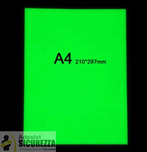 Glow In The Dark Photoluminescent Egress vinyl TapeA4 30cm X 20cm 2 sheets green