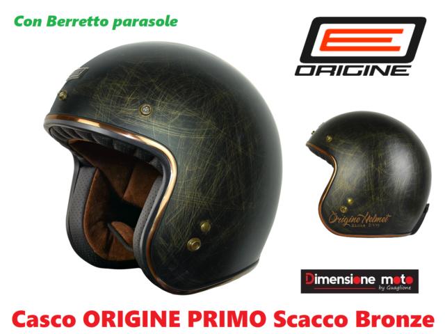 Primo Scacco Origine Casco de moto jet Caf/è Racer XL Bronze Matt