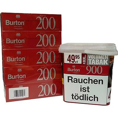 Burton Red Zigarettentabak 400 g Eimer XXXL + 1.000 King Size Hülsen NEU