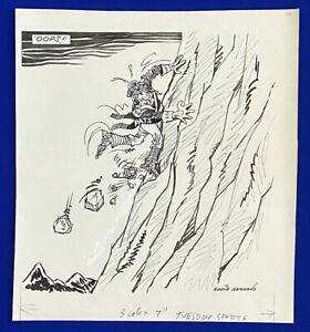 1980-039-s-Patriots-Falling-Rocks-034-Oops-034-15x17-Original-Cartoon-Art-Eddie-Germano