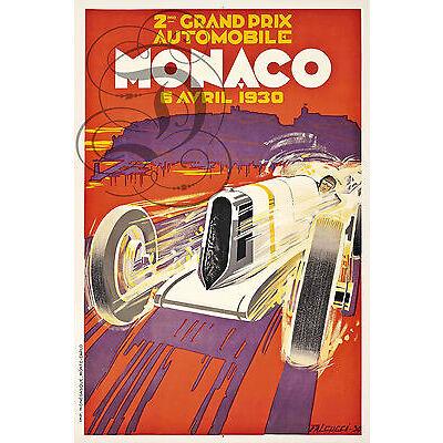 PLAQUE ALU DECO REPRODUISANT AFFICHE COURSE AUTOMOBILE MONACO GRAND PRIX 1930