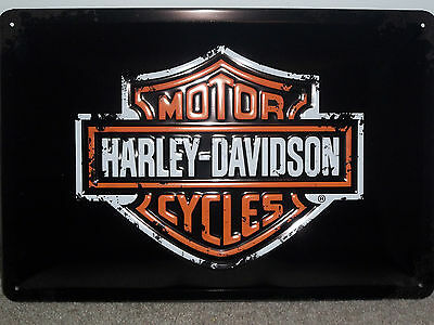 COLLECTABLE EMBOSSED 3D METAL SIGN HARLEY DAVIDSON EAGLE LOGO 30x20cm BIKER