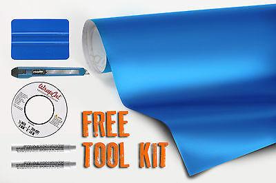Metallic blue matte vinyl car wrap 50ft x 5ft + free wrap cut and tools VVIVID9