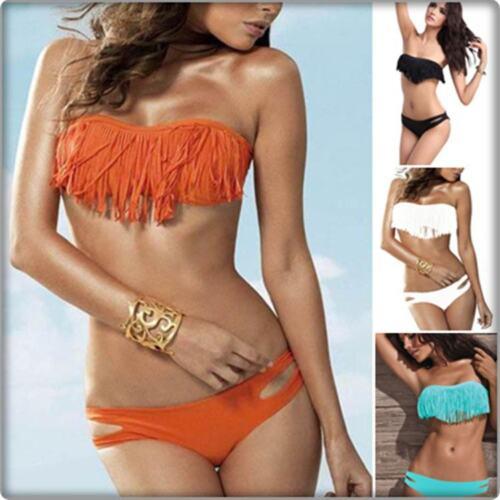 Women/'s Ladies 2 Piece Bandeau Padded Bikini Fringed Tassels Swimwear UK Bandeau