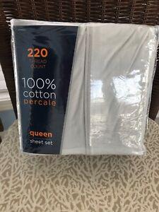 100 Percent Cotton Queen Sheet Set Silver 220 Thread Count