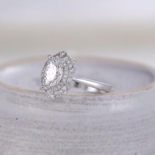 1 Ct Oval Cut Moissanite Halo Art Deco Wedding Engagement Ring 14k White Gold GP