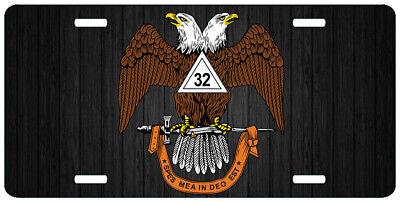 Scottish Rite 32nd Degree Mason License Plate Wings Up Truck Auto Car Tag Emblem