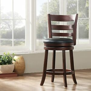 Outstanding Details About Cherry Wood Swivel Counter Height Stool 24 Inch Padded Seat Black Faux Leather Machost Co Dining Chair Design Ideas Machostcouk