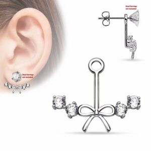 Pair of Ribbon Center with 4 CZs Add On Earring//Cartilage Barbell Jackets