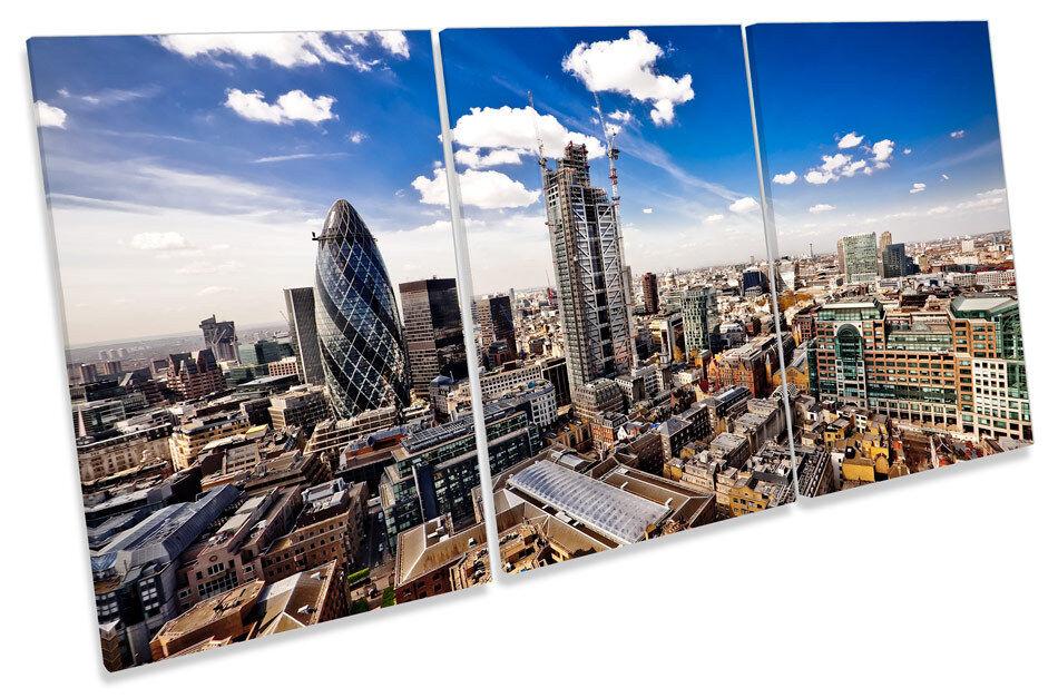 Stadtscape London Skyline TREBLE CANVAS Wand Kunst Drucken Bild