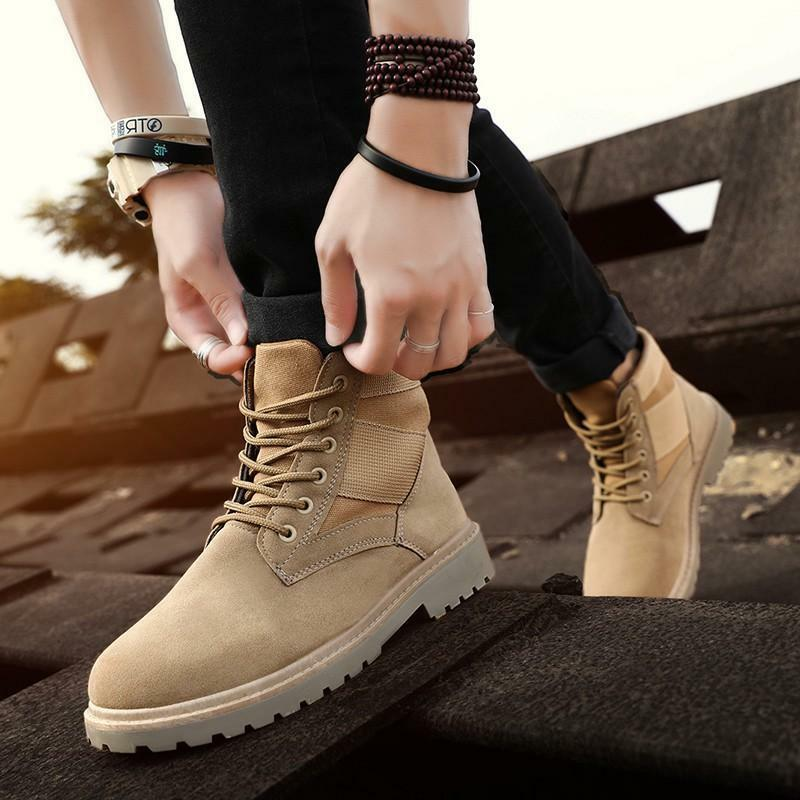 Mens Lace Up High Top Military Tactical Desert Ankle Boots Work Outdoor shoes