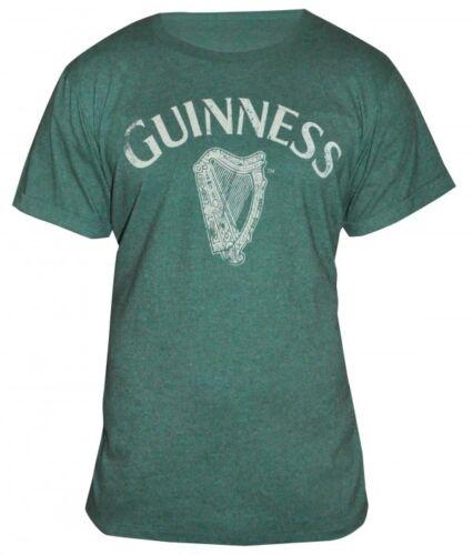 Guinness Vintage Harp Logo Tee Mens Green Irish Ireland Gaelic Shirt NEW