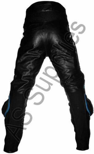 """/""""LUCKY STRIKE/"""" New Black//Blue Leather Motorcycle Trousers Pants All sizes!"""