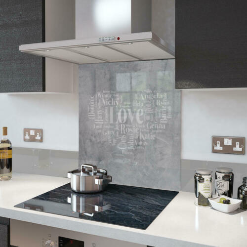Premier Range Your Own Word Collage On A Glass Splashback In Stone Love heart