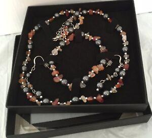 Carnelian necklace set and necklace. bracelet earrings