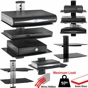 1-2-3-Tier-Black-Glass-Floating-Wall-Mount-Shelf-DVD-Player-Sky-Box-Game-Console