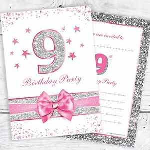 9th birthday invites pink with photo effect glitter a6 size image is loading 9th birthday invites pink with photo effect glitter stopboris Images