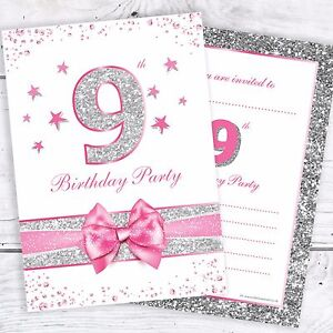 Image Is Loading 9th Birthday Invites Pink With Photo Effect Glitter