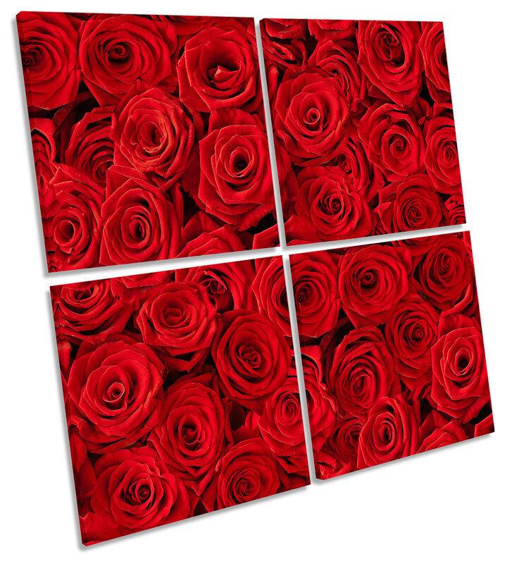 rosso rosa Fiori Floreale Multi Tela Wall Art Quadrato Quadrato Quadrato foto 61cdeb