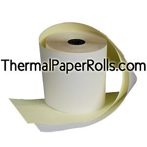"""50 rolls 2 3//4/"""" x 90/' White//Canary 2-Ply Carbonless Paper"""