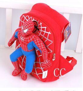 Children-Toddler-Kids-Kindergarten-Spiderman-Plush-Doll-School-Bag-Backpack-OOO