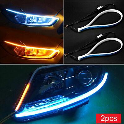 LED White 2pcs 60CM Car DRL Daytime Running Lamp Strip Light Flexible Soft Tube