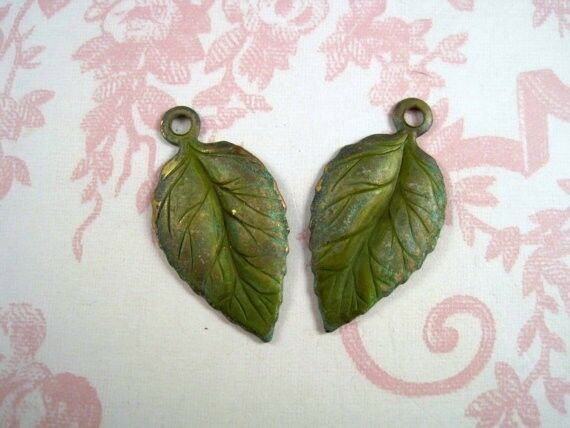 Large Verdigris Patina Brass Leaf Charm Stampings (2) - VPS0792