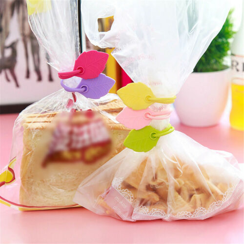 Hot 5//10Pcs Sealing Clips Creative Silicone Leaves Snack Food Storage Bag Ties
