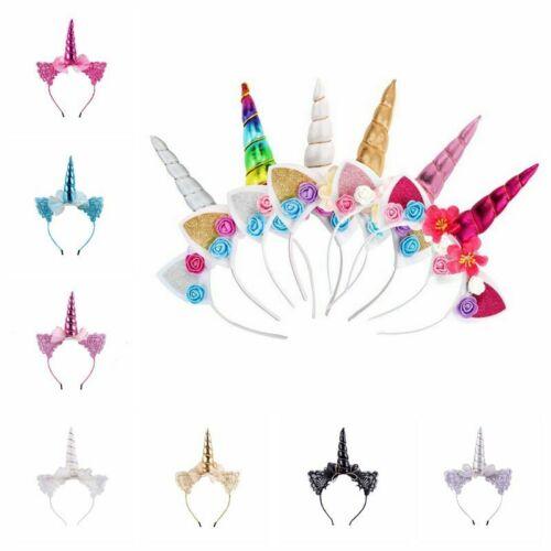 Girl Unicorn Horn Headband Hair Clip Headwear Flower Headdress Cosplay Costume