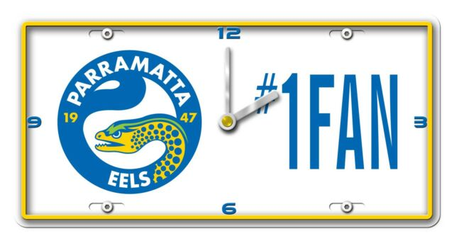 NRL PARRAMATTA EELS License Number 1 Fan Plate Metal Clock Man Cave Christmas