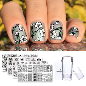 6pcs Set Bp Rectangle Nail Art Stamping Plates Flowers Animals Love