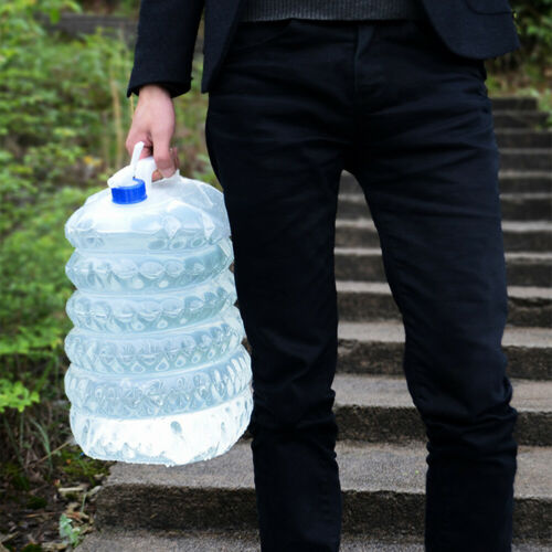 3//5//10//15L Water Carrier Container Foldable Collapsible w// Tap Camping Bottle UK