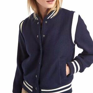 Gap Navy Wool Leather Varsity Bomber Saint Teddy Jacket Xs New Ebay