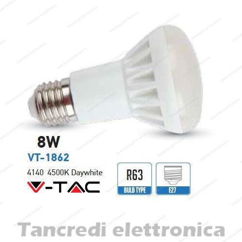LED bulb V-Tac 8w = 45w e27 White Natural 4500k vt-1862 r63 spotlight bulb