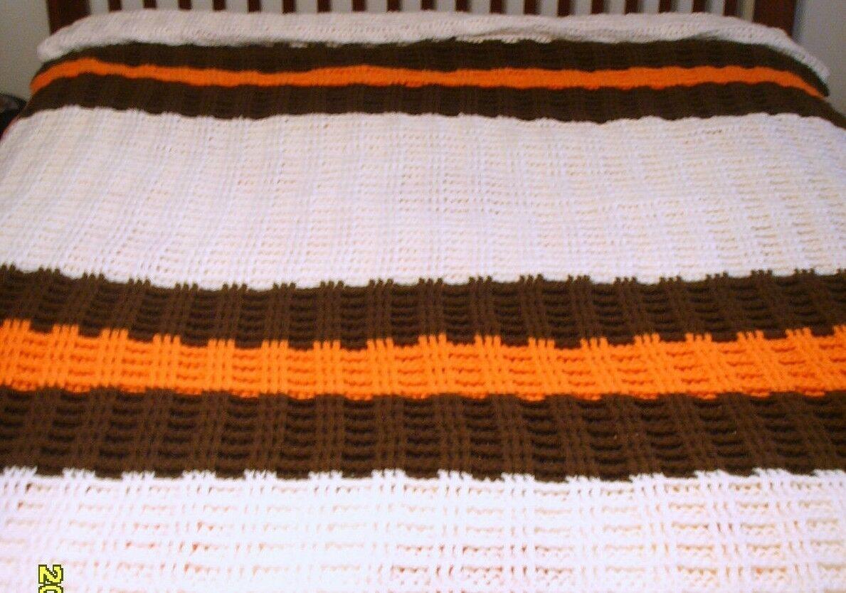 Brown   orange   ivory handmade afghan (very nice  ) 60 X 96 (approx.)