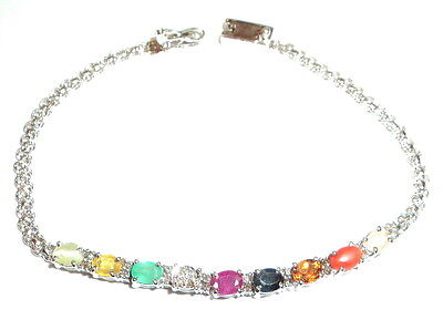 Navratna Bracelet Made in Pure Sterling Silver / Navgraha Bracelet (Nine Gems)