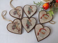 Christmas Tree Decorations 6 Vintage Victorian Style Wooden Hearts Santa Cherub