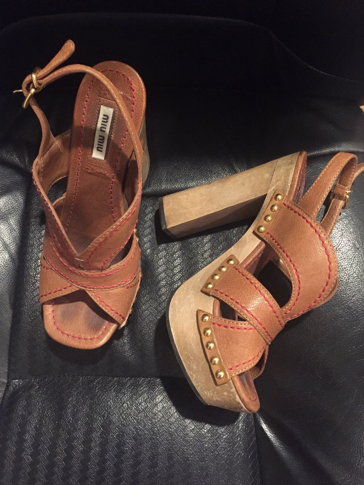 PREOWNED , GREAT CONDITION, MIU MIU CAMEL LEATHER HEELS SIZE 37 1/2,   KARICOH