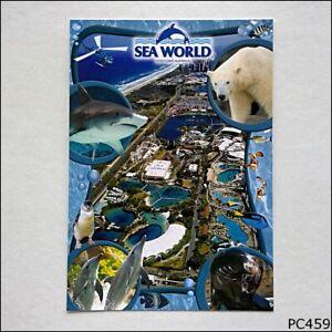 Sea-World-Gold-Coast-Australia-Aerial-View-Collage-Postcard-P459