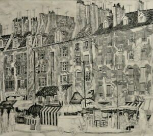 Herbert Grunwaldt, 1928-2014, acquaforte CHIC 1968: dalla rue de Mouffetard