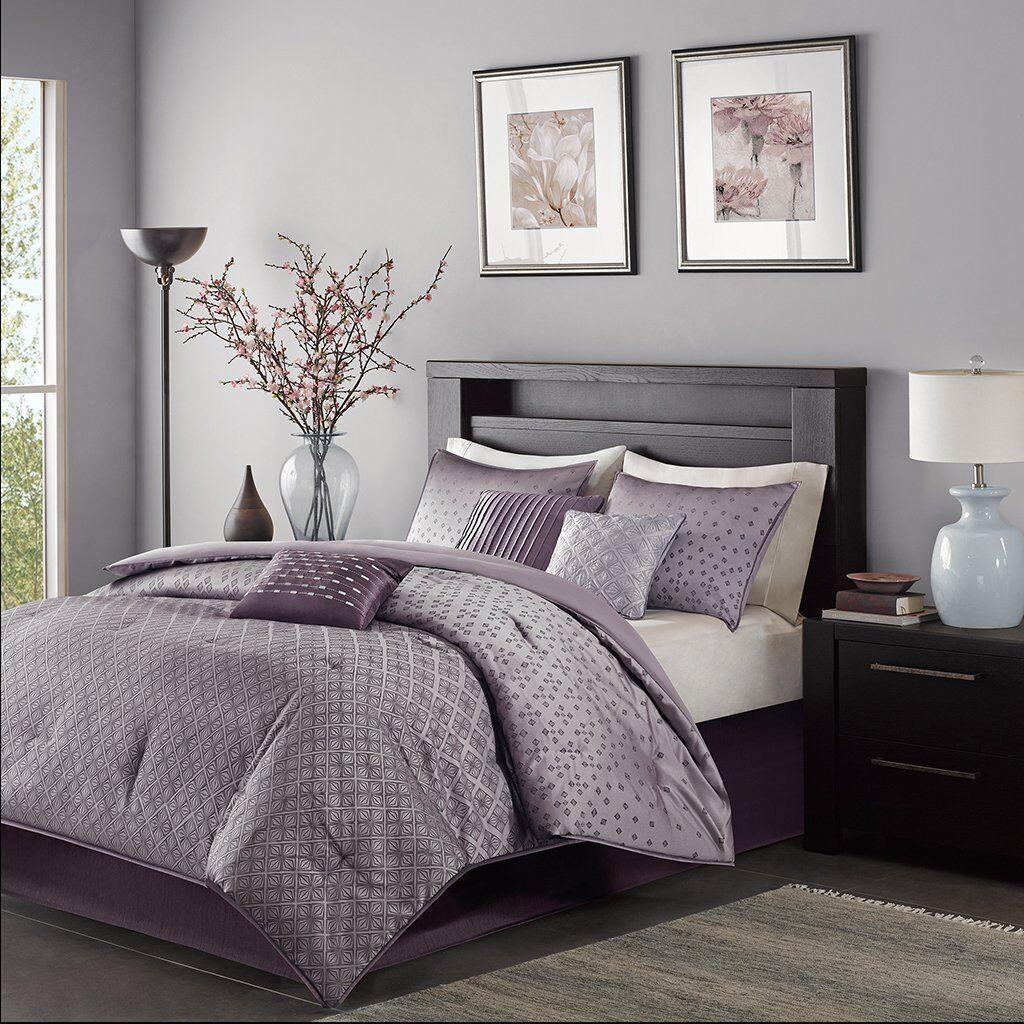 Madison Park MP10-920 Biloxi  KING 7Piece Comforter Set  -  Purple,